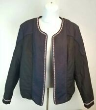 H&M Cotton Jacket Navy Blue/Black Combo Sz 12 Blazer Lined Stitch Quilted Look