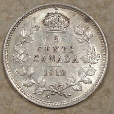 Canada 1912 5 Cents Silver Lusterous AU As Pictured