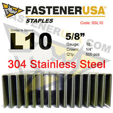 "L Staples L10 Stainless Steel 18 gauge 1/4"" crown - 5/8"" length (500 ct)"