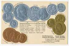 UK Great Britain Coins on German Ad Postcard ca. 1926 RARE Mint Condition