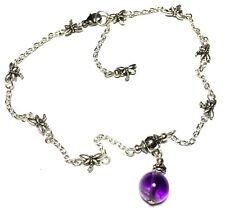 Silver Amethyst Bead Ankle Bracelet Dragonfly Chain Anklet Foot Jewellery Boho