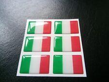 6 X 3D Italia Bandera De Resina Domed Europa Etiqueta Adhesiva 27 Mm x 16 Mm Impermeable