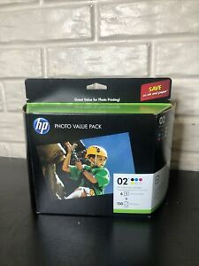 Genuine HP 02 Photo Value Pack With Six Ink Cartridges & Photo Paper EXP 05/2018