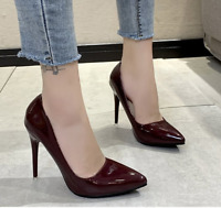 Ladies High Heels Pointed Toe Patent Leather Women Stilettos Fashion Pumps Shoes
