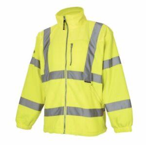 Hi Viz Vis High Visibility Fleece Jacket Zip Work Coat Sweatshirt Uk XXXL
