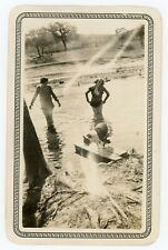 BOSTON TERRIER Dog Watching Girls Cool Off In Water, Vintage Photo 22328