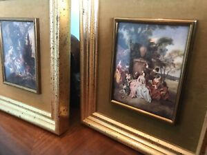 Vtg Pair Of Gold Framed Bubble Glass B&S  Small Antique Paintings