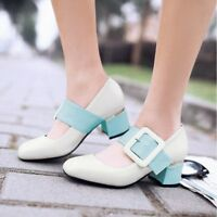 Women's Block Mid Heels Square Toe Buckle Pumps Casual PU Leather Fashion Shoes
