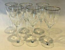 EXC SET 6 Lenox USA Firelight Pattern Red/White Wine Glass Crystal Gold Rim 8oz