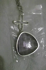 Stainless Steel Chain with Pear-shaped Purple Pendant - New