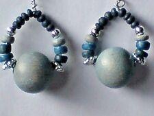 35mm.x a forma di CERCHIO BLU 20mm Orecchini pendenti con perline d'argento & in Legno. £ 3.95 Nuovo con etichette