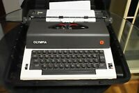 VINTAGE 1983 OLYMPIA PORTABLE ELECTRIC TYPEWRITER E-R12 W/CASE A1 SERVICED SALE!