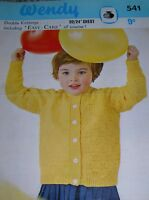 Original Vintage Wendy Knitting Pattern Girls DK Patterned Cardigan No 541