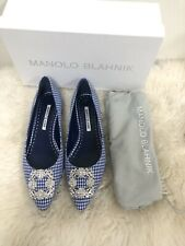 NIB Manolo Blahnik Hangisi Limited Edition Blue White Gingham Jeweled Flats Sz40