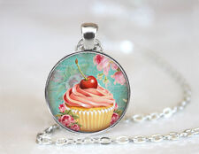 Cherry Topping Cupcake Tibetan silver Dome Glass Art Chain Pendant Necklace
