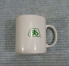 Old Pioneer Seed Green Logo White Stoneware Pottery D Handle Coffee Mug FREE S/H