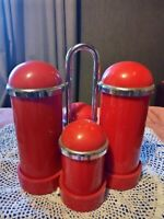 Vintage Retro 60's/70's Red Plastic Cruet Set Sauce Vinegar Salt & Pepper 14 cm