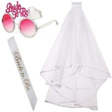 Polka Dot Sky Bride To Be Hen Party Accessories Pack Sunglasses Veil Bridal UK
