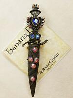 VINTAGE - NEW Banana Bob crystal encrusted dagger brooch pin