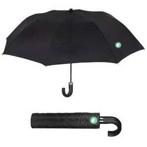 Paraguas automático plegable corto con mango negro de hombre Perletti