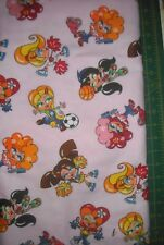 1 1/2 YDS GIRLS SPORTS ON PINK FLANNEL QUILT FABRIC