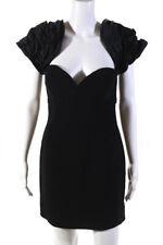 Ronny Kobo Womens Off Shoulder Puff Sleeve Gioia Mini Dress Black Size Small