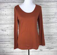 Ann Taylor Loft Women's Rust Long Sleeve Scoop Neck Knit Top Size Medium