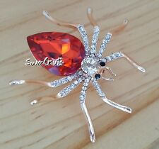 GOLD Orange Spider Brooch Pin Rhinestone Crystal Diamante Bling Jewellery
