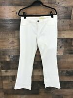 Gianni Bini Women's White Flat Front Chino Bootcut Trouser Pants Size 10