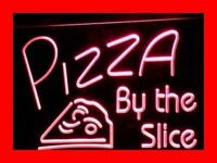 i306-r OPEN Pizza By The Slice Cafe Shop Neon Light Sign