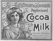 Savory & MOORES peptonised Cacao & Latte-ANTIQUARIATO Edwardian Pubblicità 1903