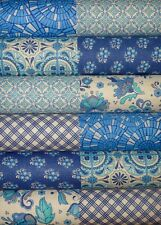 24 Mosaic Bloom Ella Blue Fabric Quilting Patchwork 5 inch Charm squares #23b