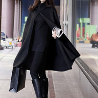 Women Thick Style Hooded Solid Hairy Cape Front Poncho Split Hoodie Coat Cloak