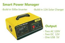 500W Watt Solar Panel Power Inverter + Charge Controller AC DC 12V RV Marine USB