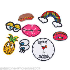 1Set/8PCs Pineapple Lips Clock Letters Patch Iron On Garment Accessories  SJ