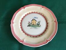 "VILLEROY & BOCH JARDIN D'ALSACE VILLAGE BREAD BUTTER PLATE 6-3/4"" HOUSE RED TRIM"
