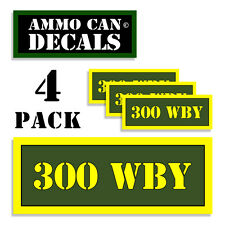 """300 WBY Ammo Can 4x Labels Ammunition Case 3""""x1.15"""" stickers decals 4 pack AG"""