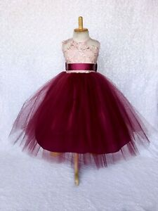 Rose Gold Embroidery Mesh 2 Layer Burgundy Dress Birthday Pageant Wedding Summer