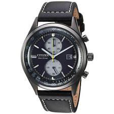 Reloj para hombres Citizen Chandler Gris Dial Negro caso Correa de Cuero CA7027-08E