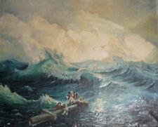 Vintage seascape oil painting shipwreckers