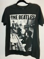 Beatles Piano Band Group Image Black T Shirt Official Apple Size Small