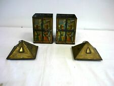 More details for pair of vintage maison lyons toffee winter lantern tins / rare 1920s    f26