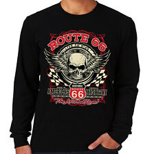 Velocitee Mens Long Sleeve T-Shirt Live Ride Skull American Biker A22690