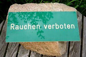 altes Schild Rauchen Verboten Kunststoff grün 30 x 13 cm Tafel Sammlerstück