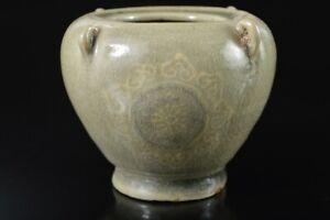 Q1713 : XF Korean Goryeo celadon Flower inlay INCENSE BURNER Tea Ceremony