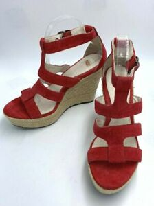 Ugg 8.5 Lauri Red Suede High Espadrille Wedge Heels Sandals Shoes