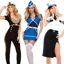Womens Sailor Pilot Hostess Stewardess Sexy Uniform Halloween FancyDress Costume