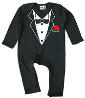 Dirty Fingers Funny Baby Tuxedo Black Romper suit Tux Dinner Jacket Formal Wear