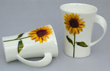 Delightful Pair of Twist Handle Fine  China Mugs in the Sunflower Design