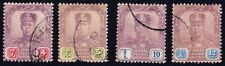 JOHORE 1918-22 small lot of 4 with 10c Isc#111 USED @E2152